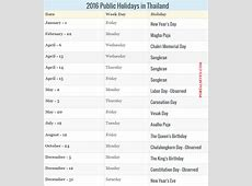 2016 Thailand Calendar Thai Holidays 2016