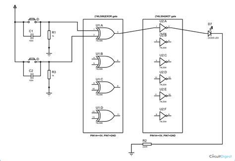 xnor gate circuit diagram working explanation