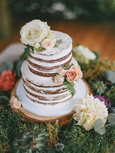 Rustic Two Tier White Wedding Cake Wedding Cakes