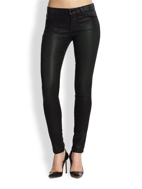 lyst  brand coated super skinny jeans  black