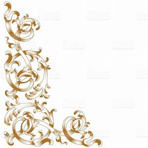 Golden Vintage Baroque Ornament Corner Retro Pattern ...