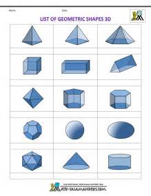 shapes list of geometric shapes 3d blank