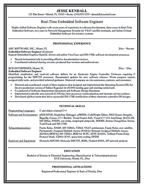 Resume Software Skills by Software Engineer Resume Includes Many Things About Your