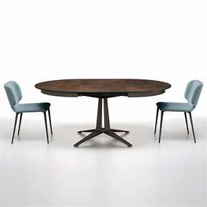 Table Ronde Extensible Pied Central : table design ronde extensible en c ramique pied central en m tal link midj 4 ~ Teatrodelosmanantiales.com Idées de Décoration