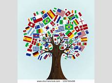 Flags World Tree Countries Participants Soccer Stock