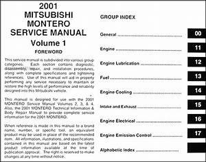 2001 Mitsubishi Montero Repair Shop Manual Set Original