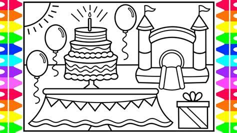 draw  birthday party cake  kids birthday