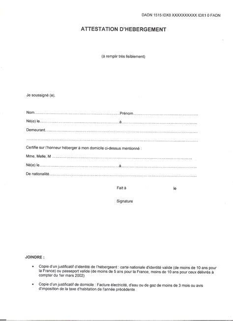 attestation hebergement modele word modele attestation hebergement pour permis de conduire gratuit