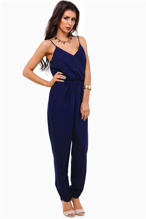 navy jumpsuit strappy jumpsuit in navy