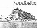 Ship Cruise Coloring Aidabella Netart sketch template