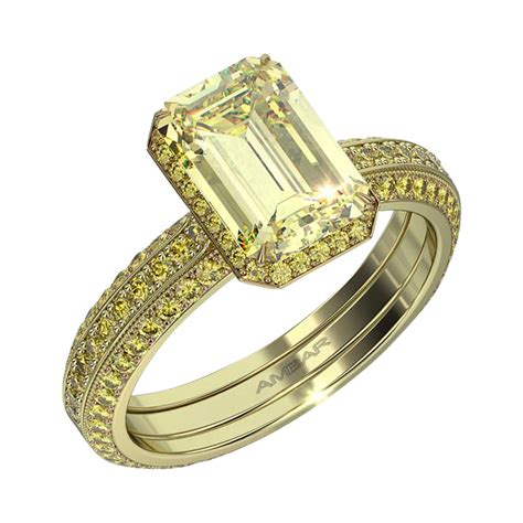 silvet engagement ring fancy yellow colored diamonds