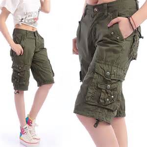 2015 women casual sport army running denim cargo Capris pants Ladies hip hop overalls shorts jeans Military baggy sweat pants
