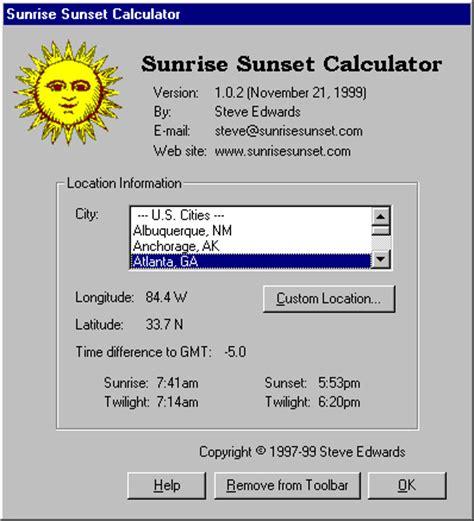 sunrise sunset calculator windows sunrisesunsetcom