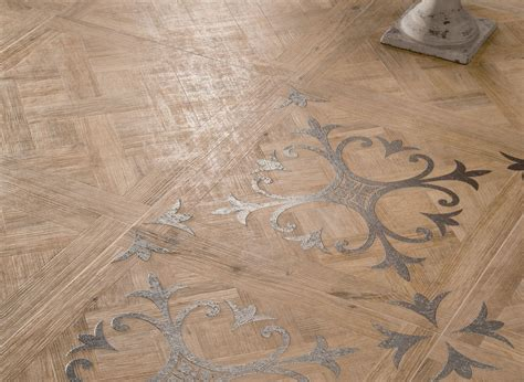 wood pattern floor tiles medium patterned wooden floor tiles with fleur de lis motif closeup interior design ideas