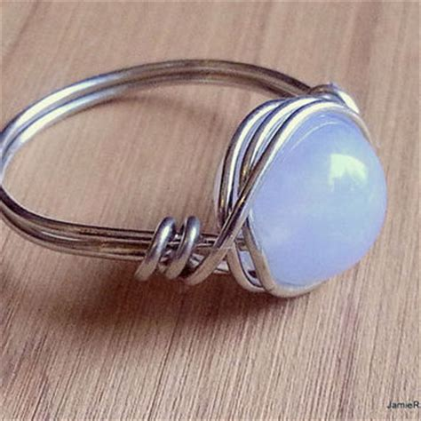 silver wire wrapped blue chalcedony ring from jamieraycreations