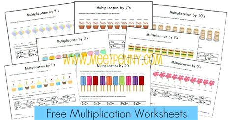 Free Multiplication Worksheets & Fact Cards {with Visual Cues}  Meet Penny