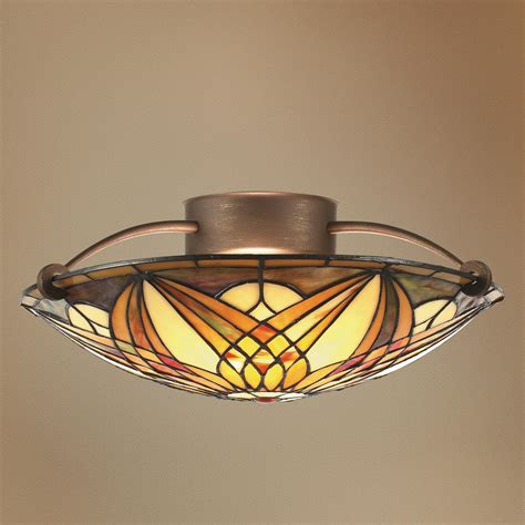 Stained Glass Bathroom Light Fixtures by Noveau 17 Quot Wide Semi Flushmount Ceiling Light Fixture