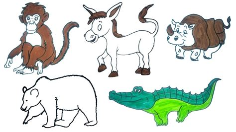 draw animals easy step  step drawings  kids