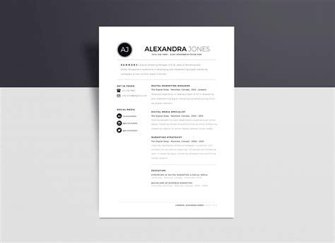 minimalist resume template  indd ai word format