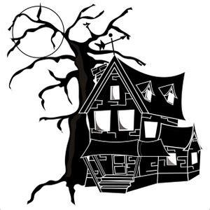 haunted house   dead tree   full moon