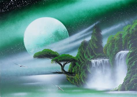 Amazing Spray Paint Art  Dark Green Sky, Trees And