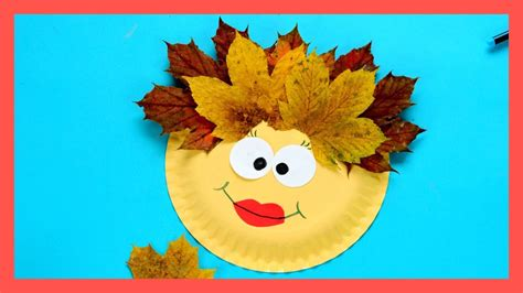 leaf face paper plate fall crafts  kids youtube