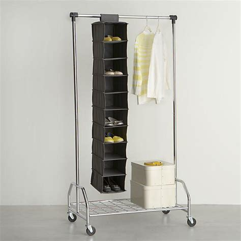 grey 10 section hanging shoe bag in closet crate and barrel