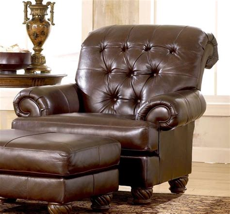 traditional accent chair w tufted brown leather cover