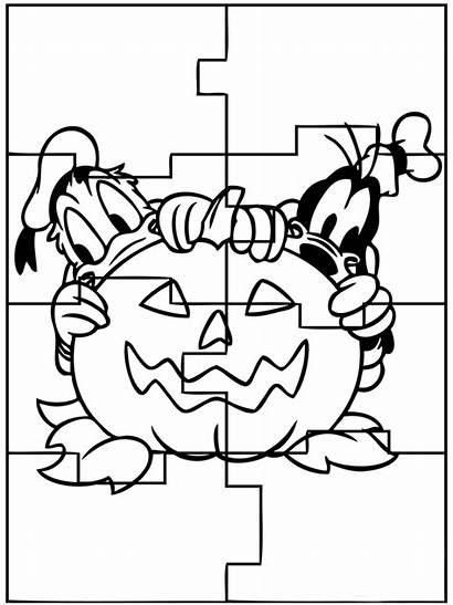 Coloring Halloween Puzzles Pages Puzzle