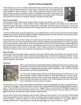 charles dickens biography reading comprehension