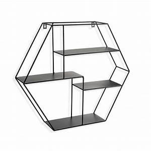 Etagere Murale Noire : etagere murale hexagonale metal noir versa 20850043 ~ Teatrodelosmanantiales.com Idées de Décoration