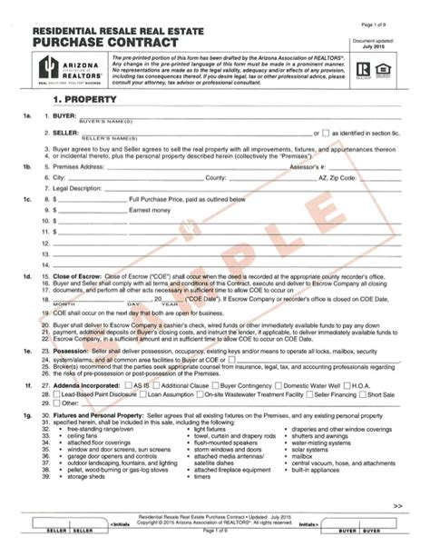 preliminary sale agreement template new purchase contract sle arizona copy aar