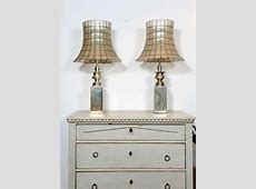 A pair of vintage 1960's silverplated 3light table lamps