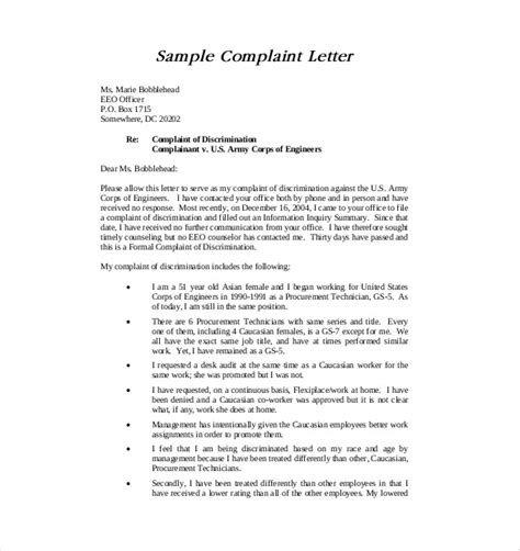 formal letter of complaint to employer template 19 letter of complaint templates doc pdf free premium templates
