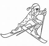 Coloring Cross Country Skiing Winter Printactivities Olympic Skier sketch template