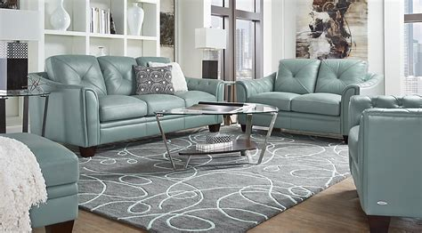 Cindy Crawford Home Marcella Spa Blue Leather 8 Pc Living Cyan Spray Paint Gun Tips Sizes Can I Wood Engine Block Lacquer Furniture Paints For Fabric Powder Coated Washable Chalk
