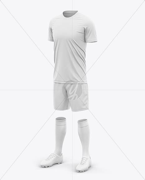 The psd file allows you to apply your designs to all visible sides (smart objects). Men's Crew Neck Full Soccer Kit - Front Half-Side View in ...