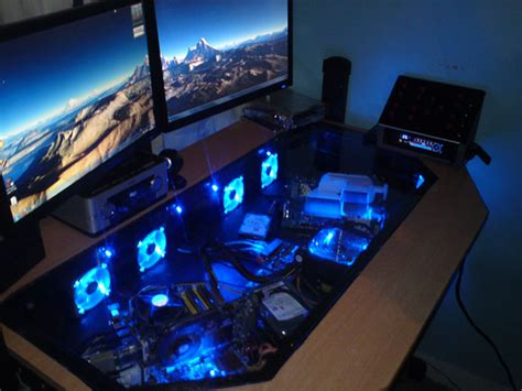 computer built into desk see through desktop pc and gaming desk science and