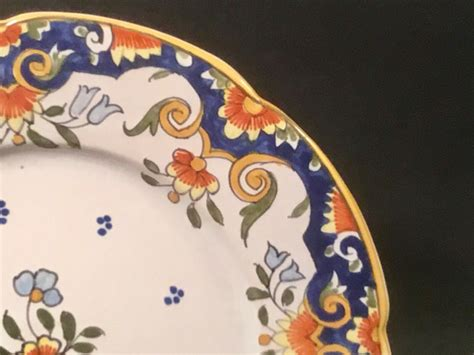 antique rouen french faience wall plate   ff