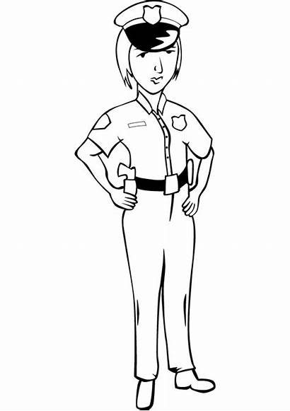 Police Coloring Woman Pages Policewoman Handout Below