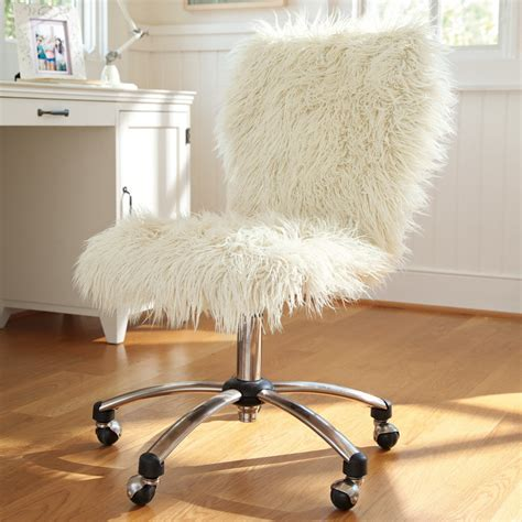 white fur office chair three adjustable desk chairs for students in budget