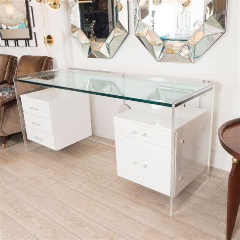 Office Desk Glass Cover by White Glass Desk With Hanging Lacquered Drawers Cool