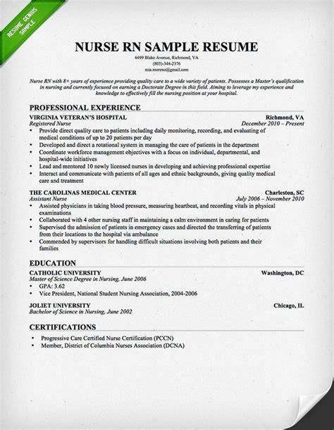 resume sles for registered nurses best resume gallery