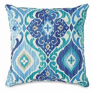 17 inch outdoor throw pillow in ikat blue bed bath beyond With bed bath and beyond outdoor throw pillows