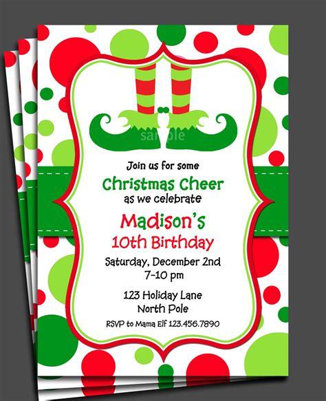 Christmas Elf Invitation Printable or Printed with FREE SH