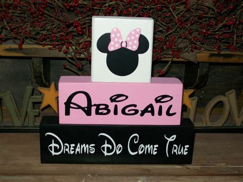 personalized minnie mouse wood sign shelf blocks dreams