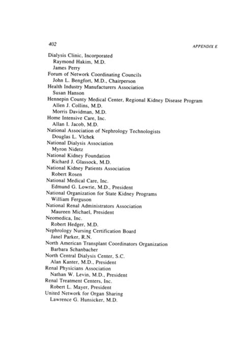 Appendix E: Institute of Medicine ESRD Study Committee Public Hearing, May 5, 1989, Chicago