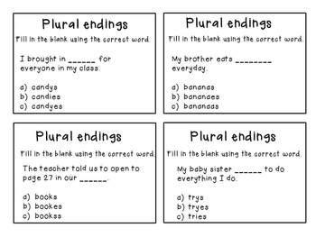 plurals adding  es ies  ves  word sorts task