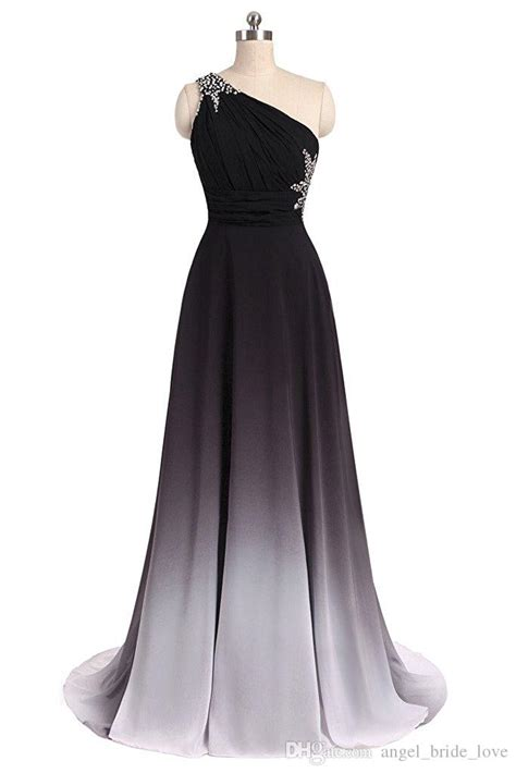 elegant black white gradient prom dresses