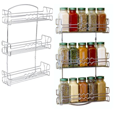 Spice Rack Wall by Spice Rack Kitchen Organizer Wall Mount Chrome Decorative